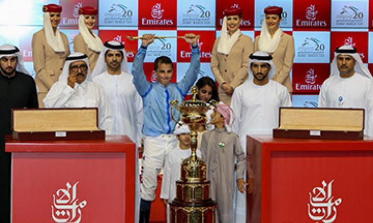 William Buick with the Dubai World Cup trophy